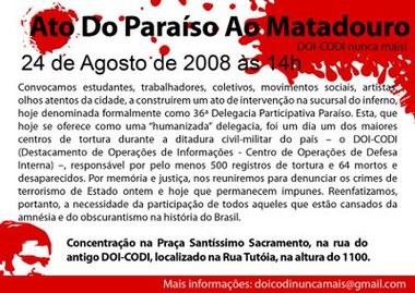 Manifesto da nova geração pela memória, verdade e justiça: DOI-CODI NUNCA MAIS!
