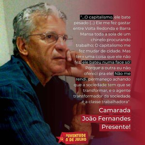 Nota de pesar pelo falecimento do Camarada João Fernandes