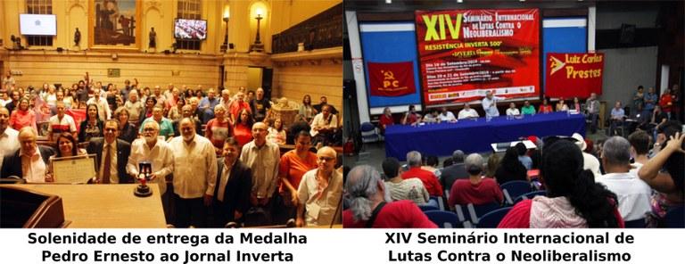 Solenidade Inverta recebe medalha Pedro Ernesto e XIV Seminario de Lutas Contra o Neoliberalismo